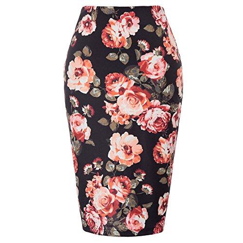 Kate Kasin Women High Waist Bodycon Career Office Midi Pencil Skirt KK000837-4 M (Career Skirt)