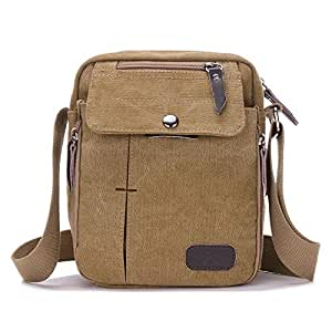 YXHM AU Men and Women Casual Small Messenger Bag Korean Canvas Bag Shoulder Bag Men Bag Outdoor Multi-Function Travel Bag Tide (Color : Khaki)