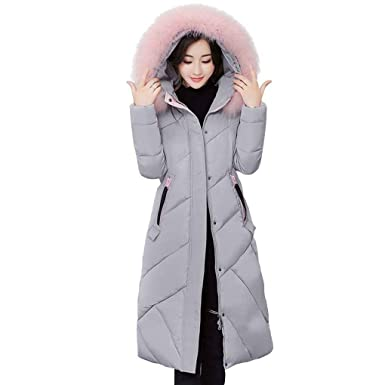 KOROWA Women Winter Hooded Fur Collar Jacket Cotton Coat Long Outwears Top