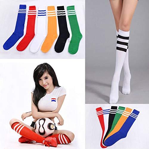 Price comparison product image 1pair of Men Women's Sport football Soccer Stripe Long Socks Over Knee High Sock Baseball Black and white