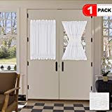 H.VERSAILTEX White Curtains for French Door, Elegant Linen Blended Privacy Protection Semi Sheer Curtain, Multi Size 52x40 - Inch/Rod Pocket Top Window Curtain Panel (Set of 1)