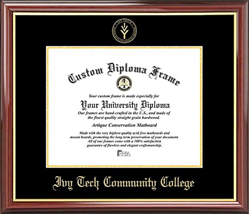 Ivy Tech Community College   Embossed Seal   Mahogany Gold Trim   Diploma Frame