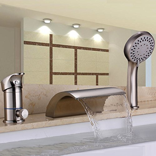 Homili Widespread Brushed Nickel Waterfall Bathtub Faucet Roman Tub Filler&Handheld Shower Set (Roman Bath Faucet)