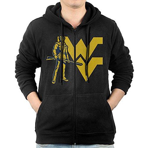 JLJK Men's West Virginia University Zip-Up Sweatshirt Jackets Black Size XXL