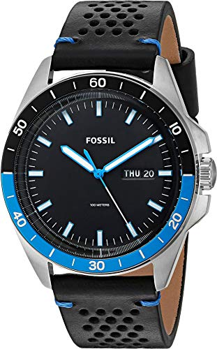 Fossil Men's 'Sport 54 3H Day-Date' Quartz Stainless Steel and Leather Casual Watch, Color:Black (Model: FS5321)