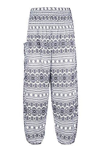 Boho Harem Taille Blanc Pants Geometric Pantalon Sarouel Smockée Lofbaz Femmes wnqz4vxPY