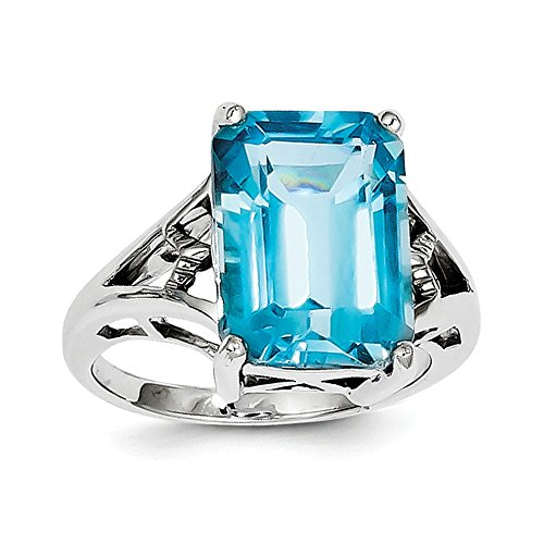 Sterling Silver Rhodium Light Swiss Blue Topaz Ring by CoutureJewelers