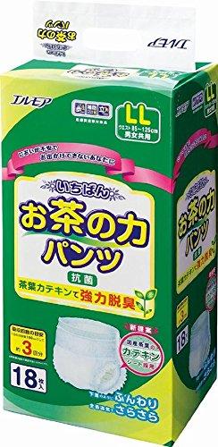 お茶の強力脱臭付で1枚 53円 茶葉カテキンの力で 脱臭と抗菌効果 いちばんお茶の力パンツ LL 18枚 12入(3合)   B013TO3ZFU