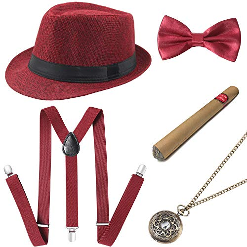 Easy Halloween Costumes For A Dance (BABEYOND 1920s Mens Gatsby Costume Accessories Set 30s Panama Hat Elastic Y-Back Suspender Pre Tied Bow Tie Pocket Watch and Plastic Cigar (Red)