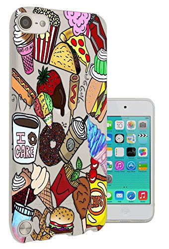 C0807 - Cool Cartoon Junk Food Hotdog Frappe Burger Pizza Coffee Chips Popcorn Taco Ice Cream Design Apple ipod Touch 5 Fashion Trend CASE Gel Rubber Silicone All Edges Protection Case Cover