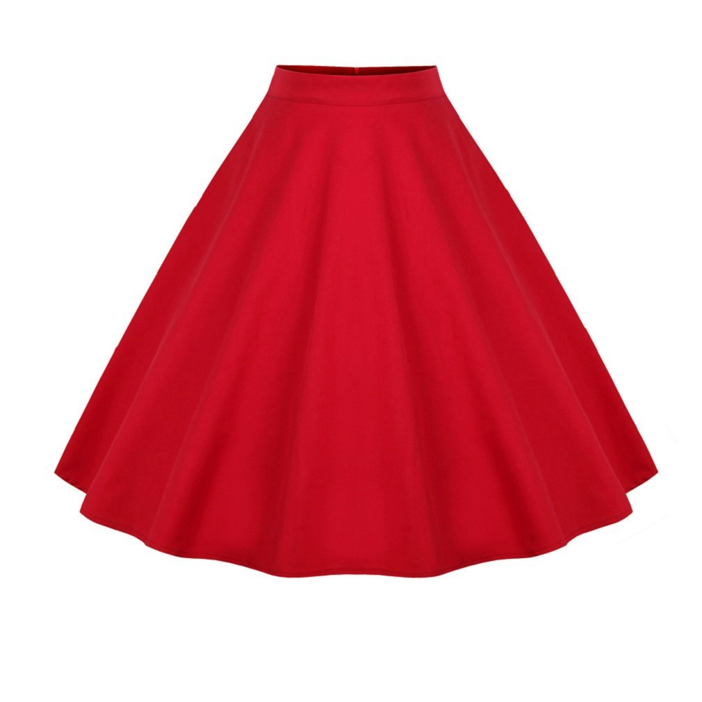 Vanbuy Women's Pleated Retro Vintage Skirts Floral Polka Dot Printed A Line Skirt Z107-1202-Red-3XL