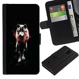 NEECELL GIFT forCITY // Billetera de cuero Caso Cubierta de protección Carcasa / Leather Wallet Case for Samsung Galaxy S5 Mini, SM-G800 // OSCURO WOLF GLOW