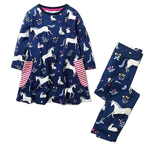 Little Girls Dress Set Long Sleeve Animal Cotton Kids Mermaid Dress with Leggings (6T, Unicorn) ()
