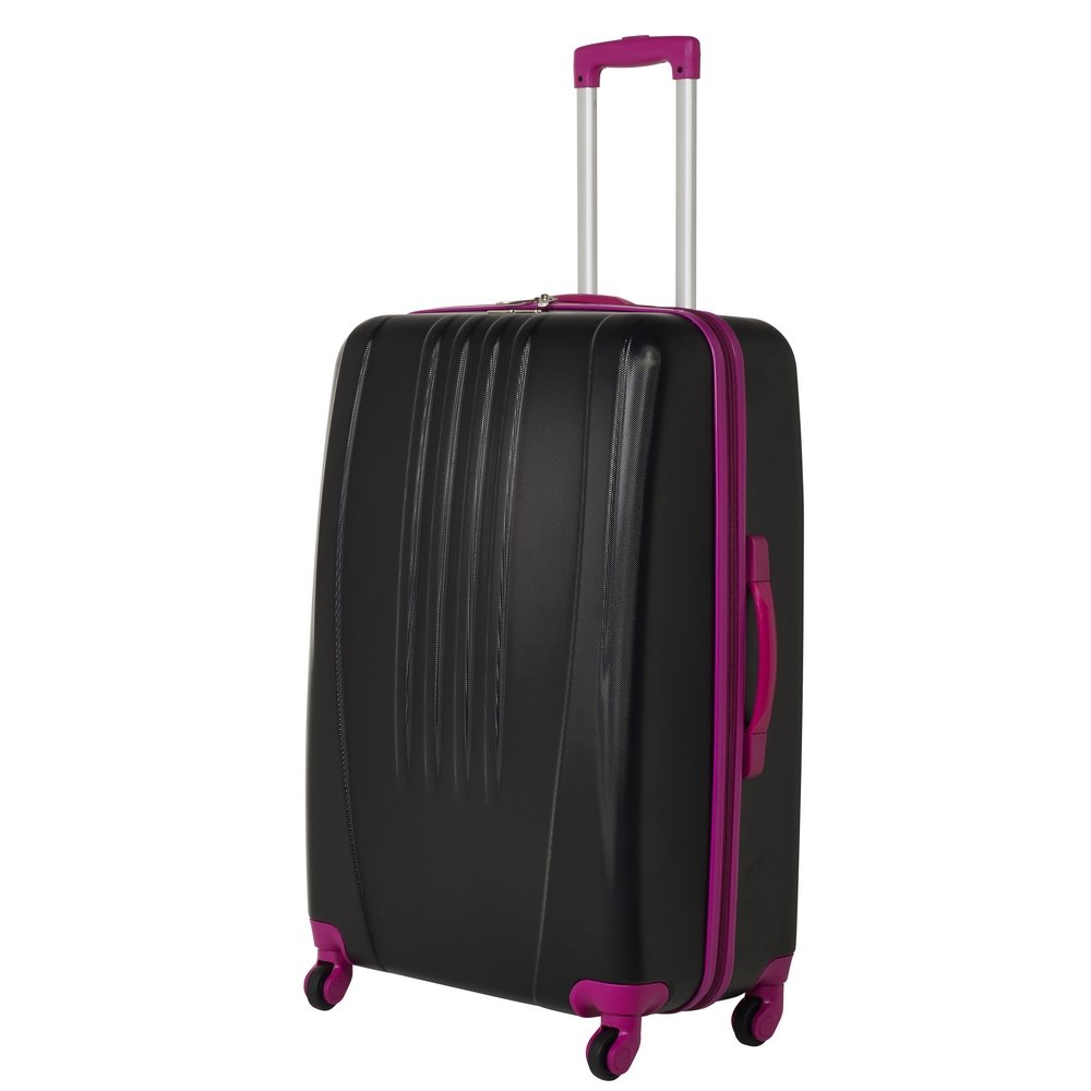 d8c8bc00c Swiss Case Luggage 4 Wheel Spinner Bold 2 Piece ABS Hard Shell Suitcase Set  (Black/Pink): Amazon.co.uk: Luggage