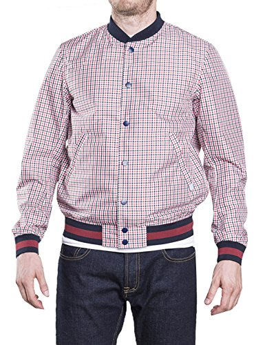 CIVICO 76 Men Boys Active Slim Rainproof Plaid Baseball Jacket Coat Checkered Red by CIVICO 76