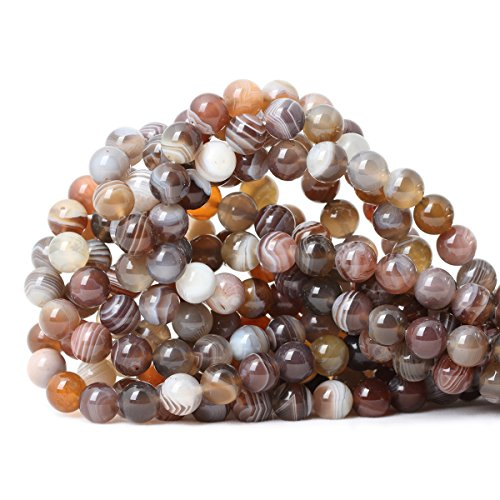 CHEAVIAN 45PCS 8mm Natural Botswana Sardonyx Agate Gemstone Round Loose Beads for DIY Jewelry Making 1 Strand 15