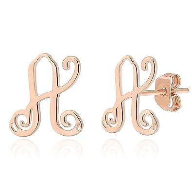 01373522bd6fc Lazycat AZ 26 Letter Earrings Stainless Steel 18K Rose Gold Plated Monogram  Alphabet Letter Initial Stud for Women