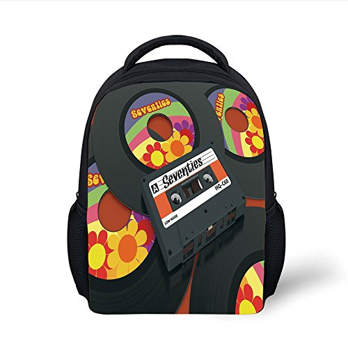 iPrint Kids School Backpack 70s Party Decorations,Compact Cassette and Some Vinyl Records with Seventies Text Oldschool Decorative,Multicolor Plain Bookbag Travel Daypack