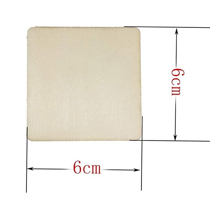 DEOMOR 50pcs 4cm Madera Manualidades Rebanadas Cuadrados Pintar Regalos DIY Posavasos Artesan/ías Bricolaje Material Modelo de Construcci/ón