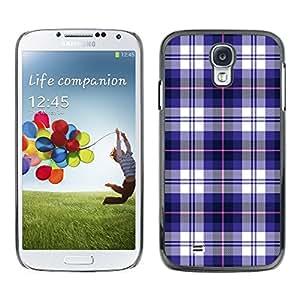 TECHCASE**Cubierta de la caja de protección la piel dura para el ** Samsung Galaxy S4 I9500 ** Checkered Blue Pattern Fashion Brand Design