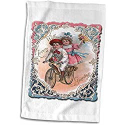3dRose BLN Vintage Valentines Day Designs - Cute Boy and Girl on a Tandem Bicycle with Ornate Victorian Frame - 12x18 Towel (twl_170261_1)