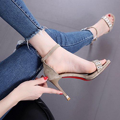 de hebilla bean talón de Feel del Red Mujer desnudo manera Remache la Thin sandalia de del pie palabra de zapatos paste del tacón dedo la la alto dwtxxO4Aqp