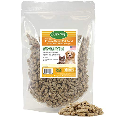 Raw Paws Pet Free-Range Freeze Dried Beef Green Tripe Dog Food & Cat Food, 16-oz - Made in USA - Raw Beef Tripe for Dogs Freeze Dried to Preserve Raw Nutrition - Grass-Fed Cows - Grain & Wheat Free