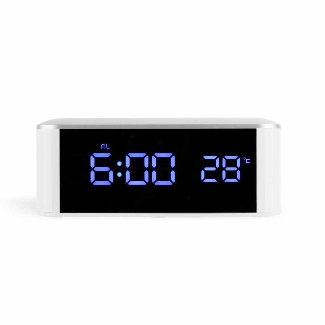 Dressffe Mini USB Digital Alarm Clock LED Dimmable Night Light Thermometer Mirror