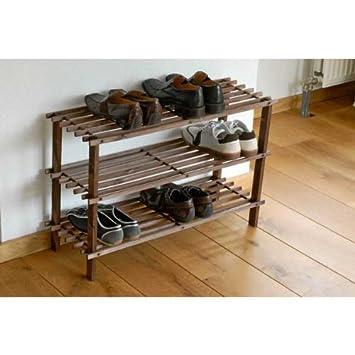 Schuhregal echt Holz 49x26,5x74cm Regal Schuhe Holzregal: Amazon ...