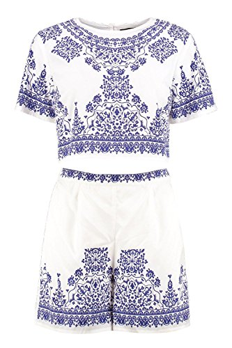 Boohoo Womens Betsy Woven Printed Placement Print Crop & Short CO-Ord In (Placement Print)