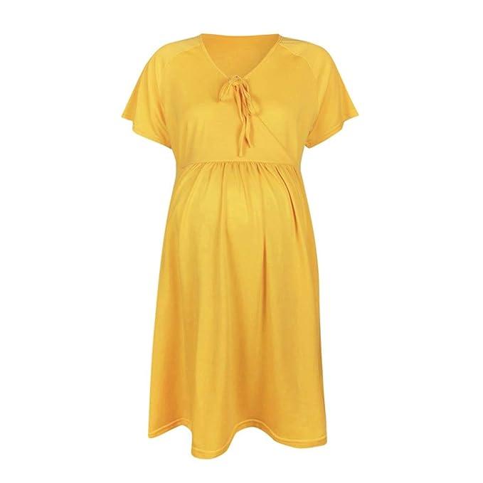 LHWY Mujer de Ropa premamá Camisetas Vestido de Arco Casual ...