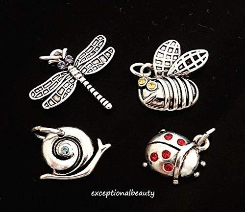 Gold Snail Charm - 4 Silver Bead Drop Charms Swarovski Crystals Dragonfly Ladybug Snail Bumblebee