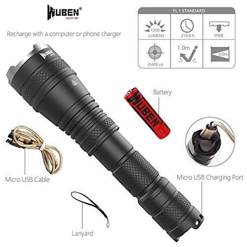 WUBEN Tactical Flashlight 1200 Lumen CREE LED Zoomable Flashlights Lighting Lamp Torch, IPX8 Water-Resistant-with Rechargeable 18650 Battery -For Cycling Hiking Camp by WUBEN