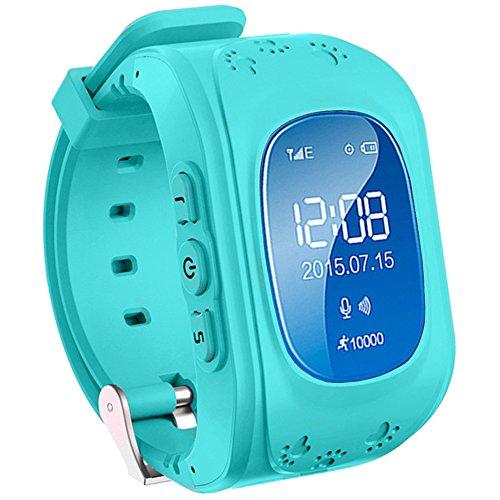 TurnMeOn Kinder Smartwatch mit GPS WIFI Anti-lost Tracker Smart watch Handy mit SIM SOS Armband für IOS Android iPhone Samsung Smartphone (Blau)