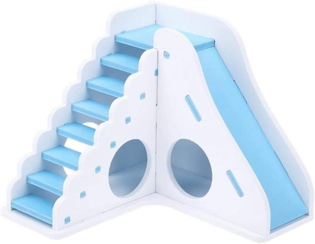 Hamster Toy Small Pets Accessories Small Pet Hamster Mice Squirrel Wooden Ladder Stairs Play Toy Nest Cage Decor Blue