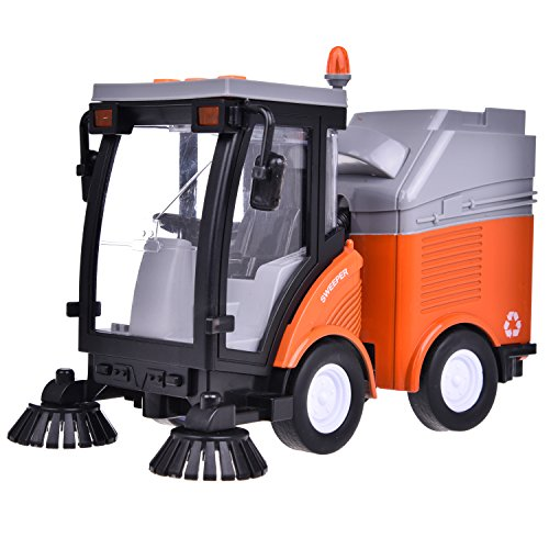 Street Sweeper Truck Toy Friction Powered Trash Car Vehicle Toys for Kids for Boys with Lights and Sound 4 Wheels 2 Brushes 1:16 Advanced Simulation Model-City Sanitation Series Orange and Gray