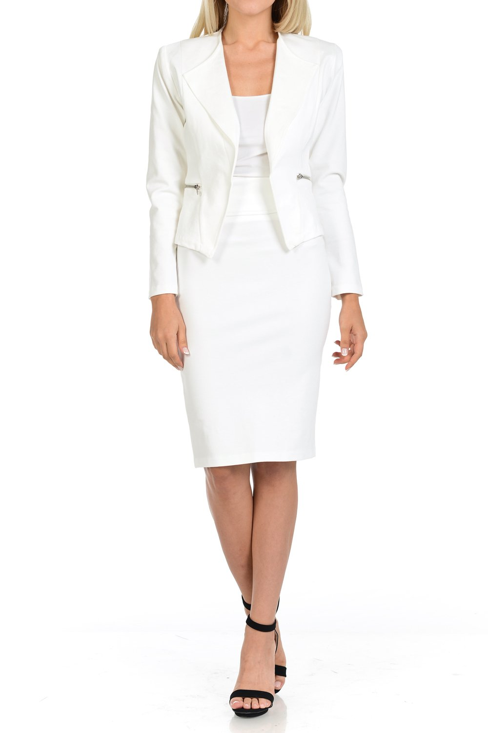 Sweethabit Womens Premium Fabric Office Wear to Work Solid Skirt, Pants Suit Set(3087N_White-XL).