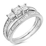 1.75 Carat (ctw) 14k White Gold Princess Diamond Ladies Bridal 3 Stone Engagement Ring Band Set 1 3/4 CT
