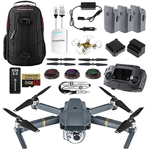 DJI Mavic PRO UPGRADE COMBO - Remote, Backpack, 3 Batteries, Lens Filters, 64gb+16gb MicroSD, Sunshade, Charging Hub, Power Bank Adapter, Car Charger Bundle, Battery Bank, iPhone Cable & Mini (Filter Sized Camcorder)