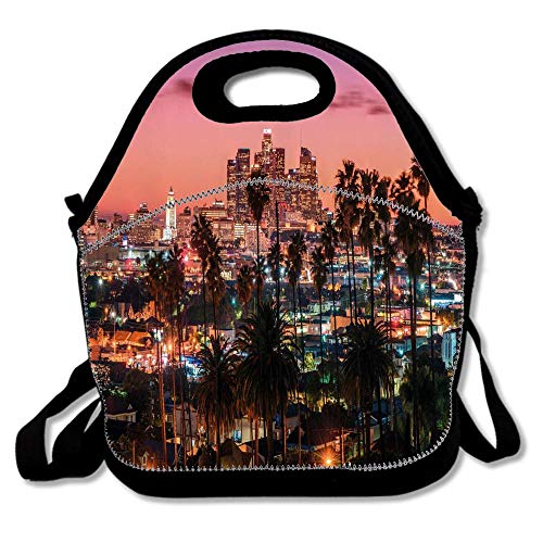 United States Vibrant Sunset Twilight Scenery Los Angeles Famous Downtown With Palm Trees Insulated Lunch Tote Bento Box Organizer with Zipper Pocket Adjustable Shoulder Strap Outdoor Travel -