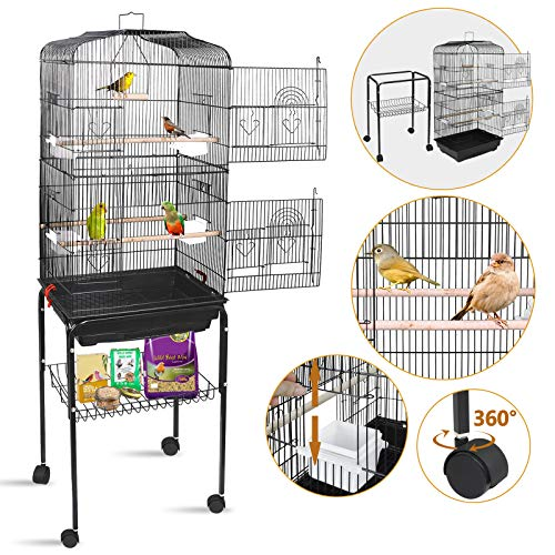 SUPER DEAL 59.3''/53'' Rolling Bird Cage Large Wrought Iron Cage for Cockatiel Sun Conure Parakeet Finch Budgie Lovebird Canary Medium Pet House with Rolling Stand & Storage Shelf (59.3'')