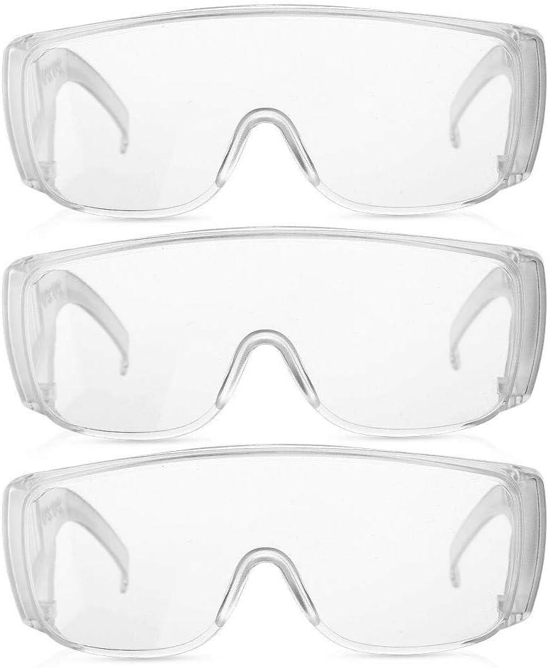 Gafas de seguridad,3 piezas Gafas de seguridad protectoras A prueba de polvo Anti-cenizas Anti - Use Cobertura completa Gafas transparentes para el lugar de trabajo Protección personal(1#)