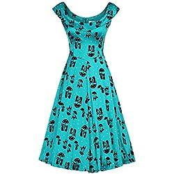 MUXXN Women's 1920S Cap Sleeve Tea Length Swing Dress (Blue Cat S)