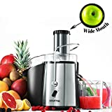 Centrifugal Juicers Best Deals - Gourmia GJ750 Wide Mouth Fruit Centrifugal Juicer 850 Watts Juice Extractor with Multiple Settings, Stainless Steel - Includes Free E-Recipe Book - 110V