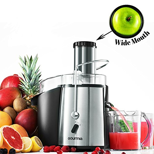 Gourmia GJ750 Wide Mouth Fruit Centrifugal Juicer 850 Watts Juice Extractor with Multiple Settings, Stainless Steel