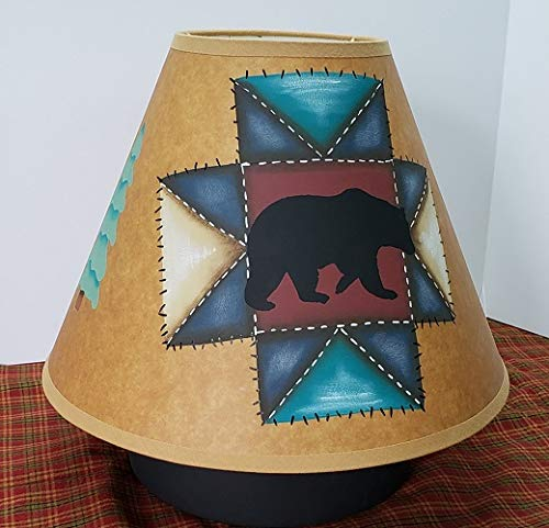 (Primitive Country Decor Faux Quilted Cabin Style Hand Painted Brown Oiled Craft Lamp Shade All Sizes)