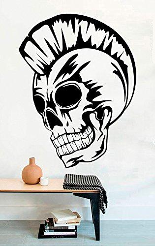 Punk Skull Vinyl Wall Decals Bones Death Halloween Skeleton Halloween Vinyl Stickers Decor Murals MK5503 ()