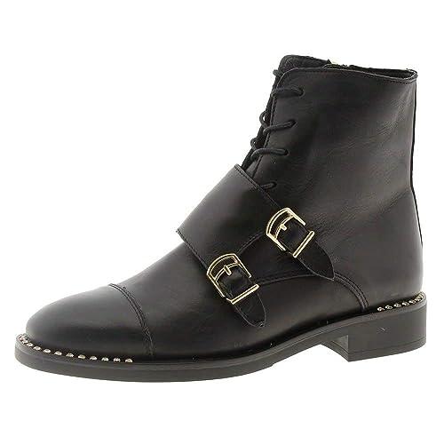 Alpe Botines Planos Negros Hebillas 38112005: Amazon.es: Zapatos y complementos