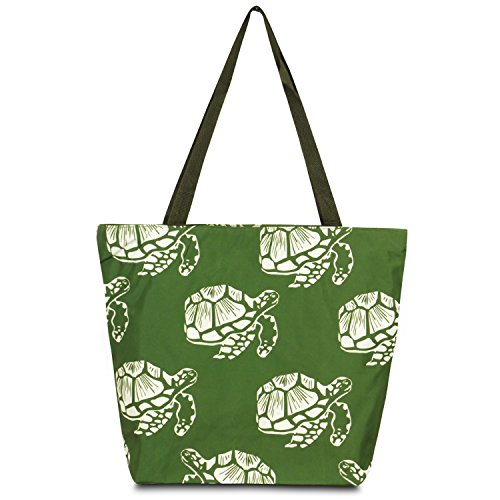 (Zodaca Large All Purpose Travel Tote Bag, Green Turtle)