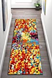 Well Woven Impasto Multi Color Geometric Brush Stroke Area Rug 2x7 (2'3'' x 7'3'' Runner) Modern Abstract Contemporary Painting Thick Soft Plush Living Dining Kid Children Room Playroom Nursery